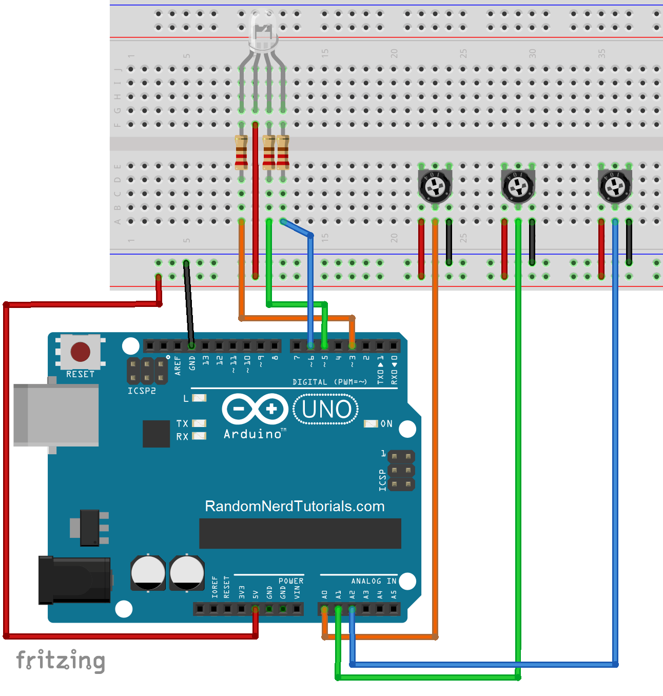 Example – Control an RGB LED with the Arduino rgb-led potentiometer.png
