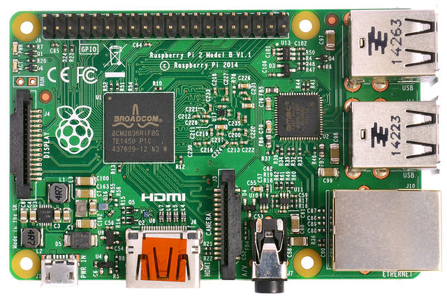 Raspberry Pi 2 Model B v1.1 top new (bg cut out)Getting Started with the Raspberry Pi.jpg